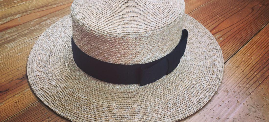 グログランの麦わら帽子