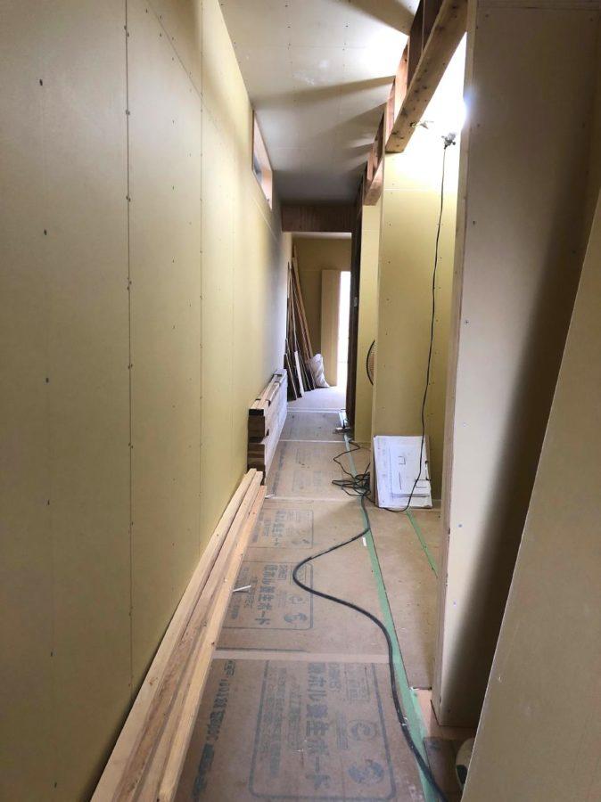 【森下町新築】内壁が貼られました1